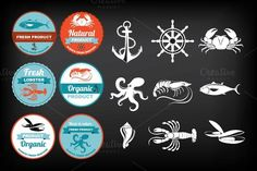 Seafood icons & labels by Barcelona Design Shop on Creative Market