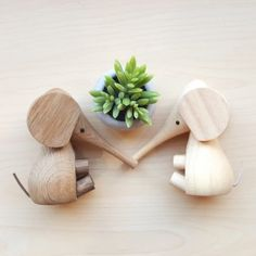 Lucie Kaas Baby Elephant Wooden Animal