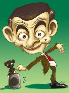 "CARICATURES DES GRANDS - Rowan Atkinson alias ""Mister Bean"""