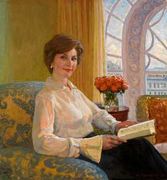 Laura Welch Bush by Aleksander Titovets. Portrait was unveiled at the National Portrait Gallery in Washington, DC, on December 19, 2008. FIRST CLASS FIRST LADY