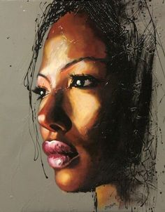 Una bellissima ragazza di colore dipinta da Colin Staples. -- A beautiful black girl by Colin Staples. -- #dipinto #ritratto #painting #portrait