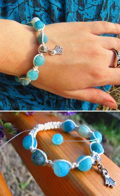 Healing bracelet blue beads Natural Agate by ThingsFromShela