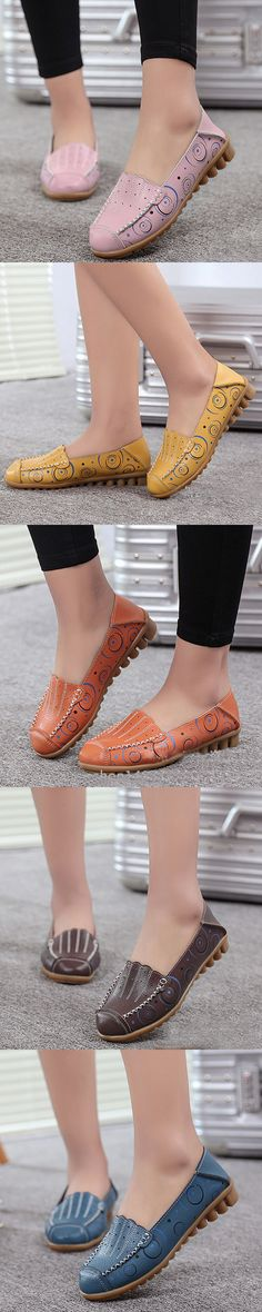 US$16.65 Large Size Pattern Breathable Soft Sole Flat Loafers