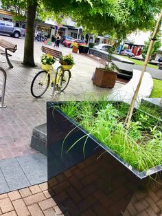 Black Powder Coated Planter in the front, corten steel planter behind it. Corten Steel Planters, Metal Planters, Powder Coating, Plants, Gallery, Black, Black People, Planters, Plant