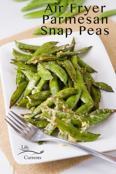 Delicious crispy Parmesan coated roasted Sugar Snap Peas will soon be a house favorite. Whether you serve these Air Fryer Parmesan Sugar Snap Peas as a side dish or a snack the ease of making these tasty green veggies in the air fryer will make you happy. Pea Recipes, Veggie Recipes, Vegetarian Recipes, Dinner Recipes, Healthy Recipes, Fish Recipes, Healthy Meals, Crockpot Recipes, Healthy Food