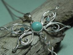 NECKLACE  Dragonfly Larimar Sterling Silver by FantaSeaJewelry, $84.00