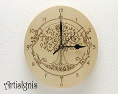 Tree of Life Wall Clock, Handmade Oval Wood Clock, Wood burned by ...