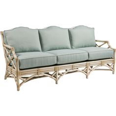 """Reed 78"""" Rattan Sofa Seaglass Sofas & Loveseats (310.150 RUB) ❤ liked on Polyvore featuring home, furniture, sofas, sofa, rattan furniture, rattan loveseat, chinese chippendale furniture, rattan love seat and rattan sofa"""