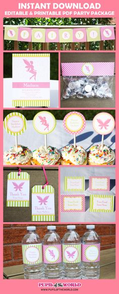 Fairy Party Package, Printable Birthday Party Collection + Invitation, INSTANT DOWNLOAD, Editable Text, Personalize with Adobe Reader by PupiloftheWorld on Etsy https://www.etsy.com/listing/186834926/fairy-party-package-printable-birthday