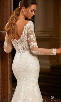 Romantic Long sleeves lace mermaid wedding dress with illusion back | Moonlight Couture Spring 2021 Wedding Dress -H1462 - Belle The Magazine #weddingdress #weddingdresses #bridalgown #bridal #bridalgowns #weddinggown #bridetobe #weddings #bride #dreamdress #bridalcollection #bridaldress #dress See more gorgeous bridal gowns by clicking on the photo