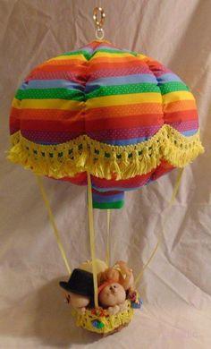 """OOAK Hand Made Hot Air Balloon w/Music Box """"It's a Small World"""" 24″ Tall Rainbow"""