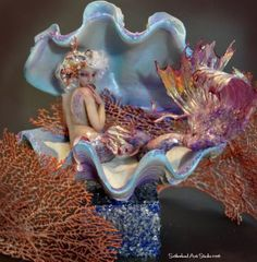 Enchanted Seashell Mermaid Statue by SutherlandArt Pin Up Mermaid, Mermaid Fairy, Mermaid Dolls, Mermaid Cove, Mermaid Artwork, Mermaid Drawings, Fantasy Mermaids, Mermaids And Mermen, Pretty Mermaids