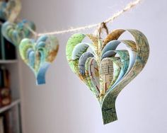Unique and pretty paper heart shaped bunting, created from vintage maps. Each garland has eight handcut hearts and is 3 metres or around 8 foot long. A romantic and colourful home decoration! Map Crafts, Arts And Crafts, Heart Map, Heart Garland, Heart Banner, Heart Decorations, Wedding Decorations, Hanging Decorations, Tea Party