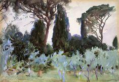 John Singer Sargent: Landscape near Florence 1907.