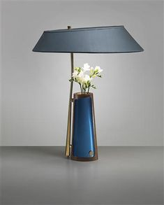 Max Ingrand for Fontana Arte; table lamp with integrated vase, brass, glass and enameled metal, Italy, 1957 Luminaire Design, Lamp Design, Wood Design, Light Table, Lamp Light, Interior Lighting, Lighting Design, Design Light, Fabric Lampshade