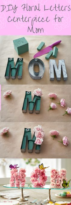 DIY Mom centerpiece. Whatever type of celebration you're planning for Mother's Day this year, this pretty MOM centerpiece will be the perfect finishing touch! And it's so easy to make, too! (Seriously, anyone can do it.)
