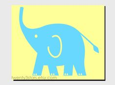 Zoo Elephant Print, Minimalist Wall Art Unframed, Perfect for a Baby Nursery or Shower. Shown in Aqua and Yellow. $15.00, via Etsy.
