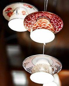 Upcycling tea cup lights