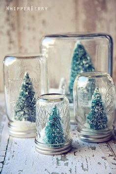 Prepare your home for the merriest holiday ever with these homemade Christmas decorations. These crafty DIY Christmas decorations are rustically charming and easy to recreate. Diy Snow Globe, Christmas Snow Globes, Noel Christmas, Winter Christmas, Christmas Gifts, Winter Snow, Handmade Christmas, Christmas Ideas, Christmas Music