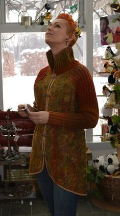 Eco style and boho chic fashion felted jacket from natural silk and A-Grade wool, lace and hand embroidery - OOAK