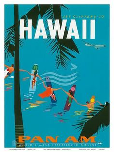 Hawaii - vintage PanAm poster