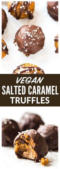 AMAZING gluten free, dairy free, vegan dessert: Dark Chocolate Salted Caramel Truffles. Easy, no bake recipe. Perfect sweet treat for healthy desserts or even snacks. Recipe at wellplated.com | @wellplated