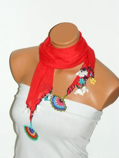 2012 summer trends Crocheted red scarf with by WomanStyleStore, $24.50