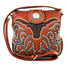 Montana West® Concealed Carry, Tooled Longhorn Messenger- Brown