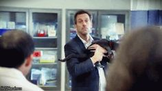 And again, he doesn't smile at cats! Only dogs, ;) - House MD. S05E18 Here Kitty