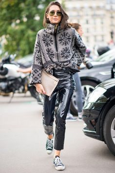 Chloe Jacquard Zip Mock Sweater | Boucle Yarn | On the street of Paris Fashion Week Photo: Imaxtree