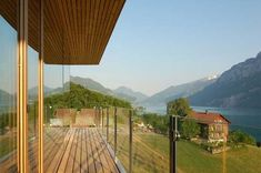Clear lines and maximized views in Switzerland: residential building at the Walensee - Decoration Ideas Modern Wooden House, Wooden House Design, Interior Architecture, Interior Design, Home And Family, Mountains, Building, Outdoor, Switzerland