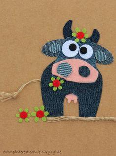 Ideas For Embroidery Denim Ideas Fabrics Wool Applique, Applique Patterns, Applique Designs, Embroidery Applique, Fabric Art, Fabric Crafts, Sewing Crafts, Sewing Projects, Artisanats Denim
