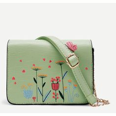 Flower Embroidery PU Crossbody Bag ($17) ❤ liked on Polyvore featuring bags, handbags and shoulder bags