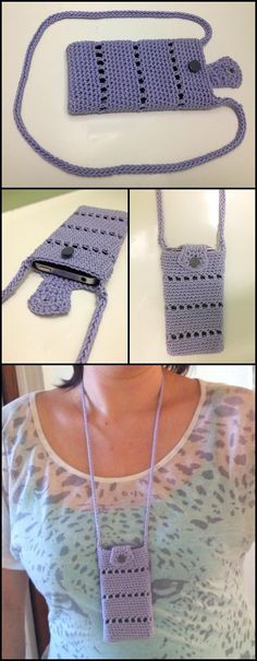 Crochet iPhone Pouch with Straps - 50 Free Crochet Phone Case Patterns - Page 3 of 5 - DIY & Crafts