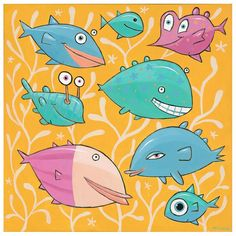 "Giclée Print on Canvas: ""Eight Happy Fish"" -by artist F. Aquarium, Fish Artwork, Fishing World, Doodle Drawings, Giclee Print, Doodles, Canvas Prints, Kids Rugs, Orange"