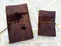 laser engraved leather Journal Cover- World Map Design - Best 3rd anniversary gift idea on Etsy, $28.50