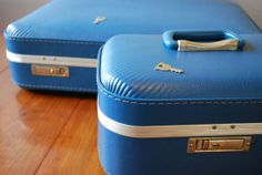 Set of Two Blue Vinyl Hardside Suitcases  by RetroVintagious, $42.00