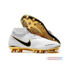 Nike Football Boots With Sock Cheap - Nike Phantom Vision Elite DF AG Pro White Gold Black - No Lace Football Boots - Artificial Ground - Mens Best Soccer Shoes, Nike Soccer Shoes, Nike Football Boots, Mens Soccer Cleats, Soccer Boots, Football Equipment, Hype Shoes, Formal Shoes, Burton Snowboards