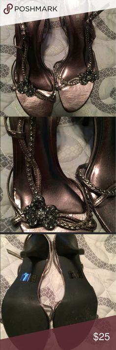 Copper metallic rhinestone heels Excellent condition! Two Lips Shoes Heels
