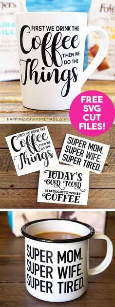 Make your own Funny Coffee Mugs with these free SVG cut files for your Cricut or Silhouette machine! Custom coffee mugs make a great quick and easy gift idea for friends, family, teachers, neighbors and more! via @hiHomemadeBlog #ad @folgers @walmart