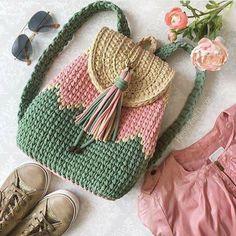 Crochet Bag Crochet Idea- pattern to be written - Crochet Backpack, Bag Crochet, Crochet Shell Stitch, Crochet Handbags, Crochet Purses, Crochet Crafts, Crochet Hooks, Crochet Projects, Crochet Baskets