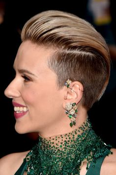 Styling ideas for short hair: go bold with a ScarJo undercut.