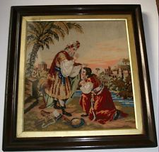 ANTIQUE BERLIN WOOLWORK EMBROIDERY BIBLICAL MELCHIZADEK AND ABRAHAM 23.5X26IN
