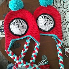 Thing 1 & Thing 2 crocheted hats...