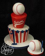 baseball theme birthday cake & smash cake to coordinate Take The Cake, Love Cake, Unique Cakes, Creative Cakes, Cupcakes, Cupcake Cakes, Fondant, Sport Cakes, Baseball Birthday