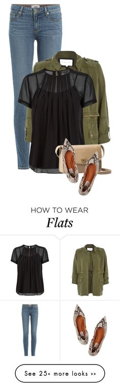 """""""Thoughts"""" by livinglifeincolor on Polyvore featuring Paige Denim, River Island, Marc by Marc Jacobs, UGG Australia, Lanvin, blouse, utilityjacket, pointedflats and militarycoat"""