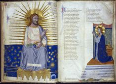 Miniature of Christ in glory holding a globe and blessing the Virgin (on the following page); miniature of the Virgin kneeling (towards Christ on the previous page), from the Address in verse to Robert of Anjou, King of Naples, from the town of Prato in Tuscany (the Carmina regia), illuminated by Pacino di Buonaguida, central Italy (Tuscany), c. 1335 - c. 1340, Royal MS 6 E. ix, ff. 4v-5r.