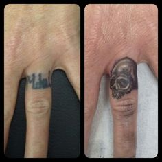Ring finger coverup tattoo