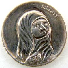 MARK THOMAS HOBO NICKEL - MADONNA OF HOBOS - 1937 BUFFALO NICKEL Mark Thomas, Hobo Nickel, Madonna, Buffalo, Coins, Carving, Rooms, Wood Carvings, Sculptures
