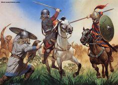 Germanic Warrior - ANNEE 55 av JC: Germains et Bretons, 1) Campagne contre les USIPETES et les TENCTERES, 5: Mais à peine les 2 nations se mettent d'accord, que la cavalerie romaine (5000 hommes) est attaquée par celle ennemie largement inférieure en nombre (800 cavaliers) et mise en déroute. CESAR aligne immédiatement ses légions en ordre de bataille en 3 lignes, et attaque à son tour par surprise l'armée ennemie, sans chef, car ils ont été arrêtés quelque temps auparavant au camp de César